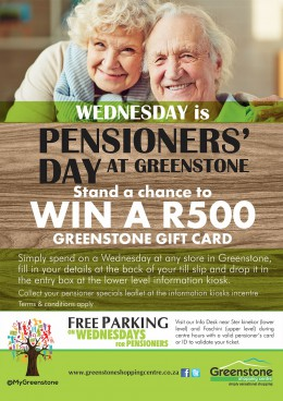 Wednesday is Pensioners Day at Greenstone