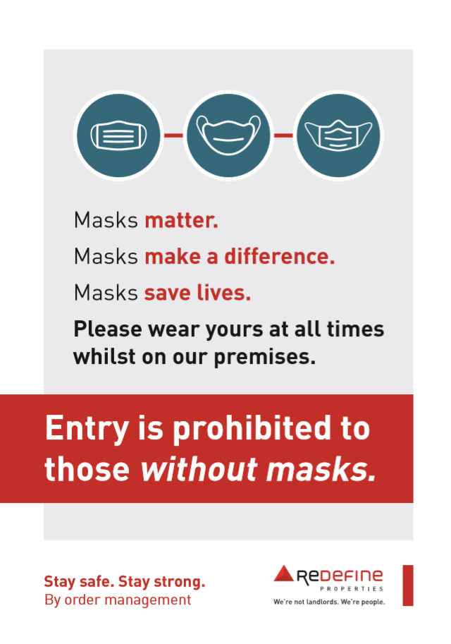 Entry is prohibited to those without masks