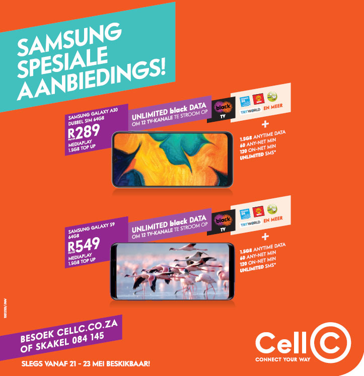 "Midweek sale <a href=""https://www.btngebscity.co.za/downloads/10012103%20Cell%20C_MIDWEEK%20DEALS_MAY%2030X6_HI_AFR.PDF"" target=""_blank"">click here</a>."