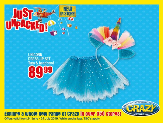 """<div>Check out the latest gifts from The Crazy Store.</div> <div>Browse the Just unpacked promotion here:<a href=""""http://www.crazystore.co.za/promotions/latest-promotions/just-unpacked-leaflet-june-july-2019"""" target=""""_blank"""">https://bit.ly/2RLVp5f.</a></div> <div>*Offers valid until 24 July 2019, while stocks last.</div>"""