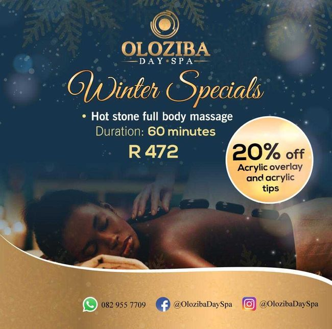 <div>Oloziba Day Spa has a winter special running until the end of July.</div> <div>Hot stone full body massage for an entire 60 minutes for R 472.00.</div> <div>20% off acrylic overlay and acrylic tips.</div> <div></div>