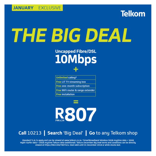 <div>The January Big Deal includes:</div> <div> <ul> <li>1 Month Free Subscription</li> <li>WiFi router&nbsp;</li> <li>WiFi range extender</li> <li>LIT TV streaming box&nbsp;&nbsp;</li> <li>DSL/FTTH installation</li> </ul> </div>