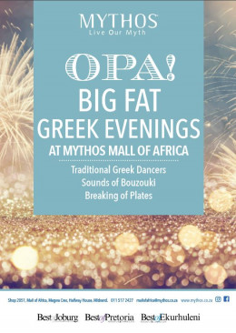 Big Fat Greek Evenings at Mythos Mall of Africa