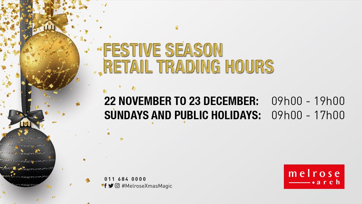 Festive season retail trading hours