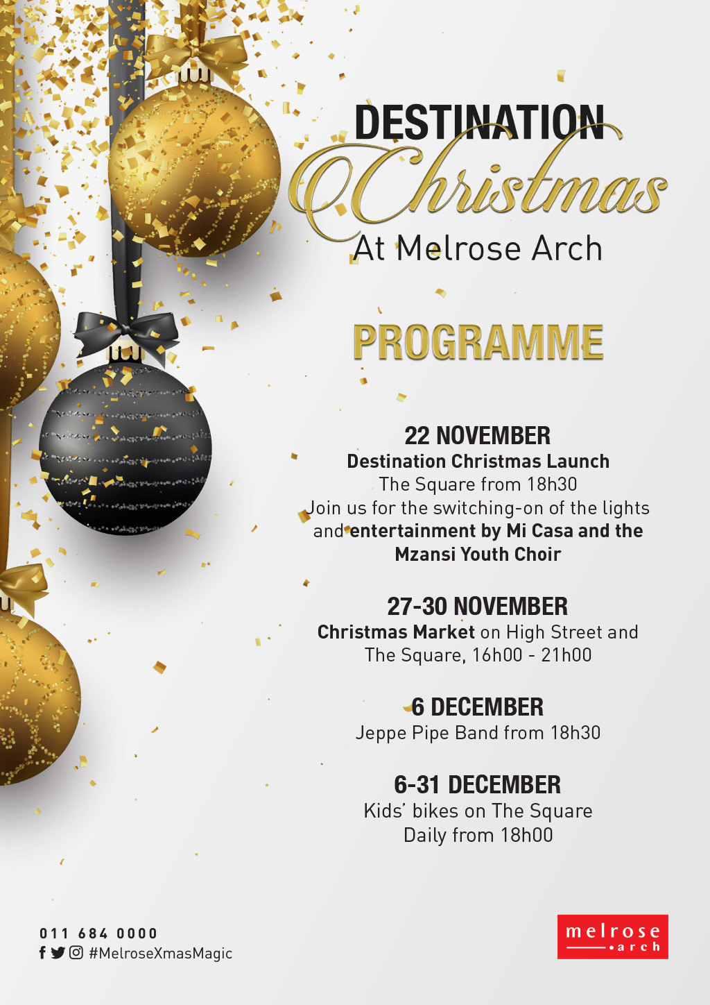 Destination%20Christmas%20programme 20191112160331 large - Its 'Destination Christmas' at Melrose Arch this holiday season