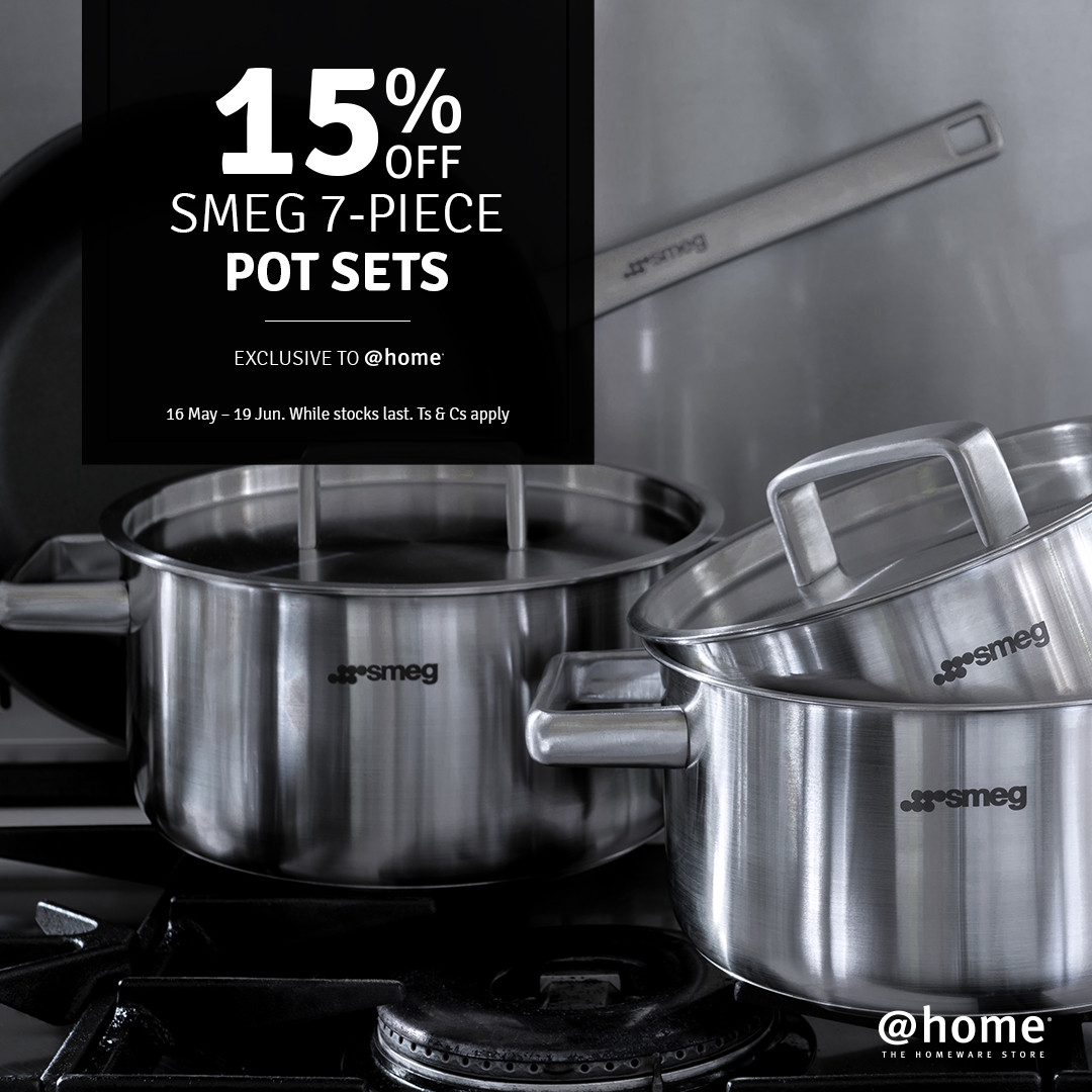 15% off Smeg pots at @home